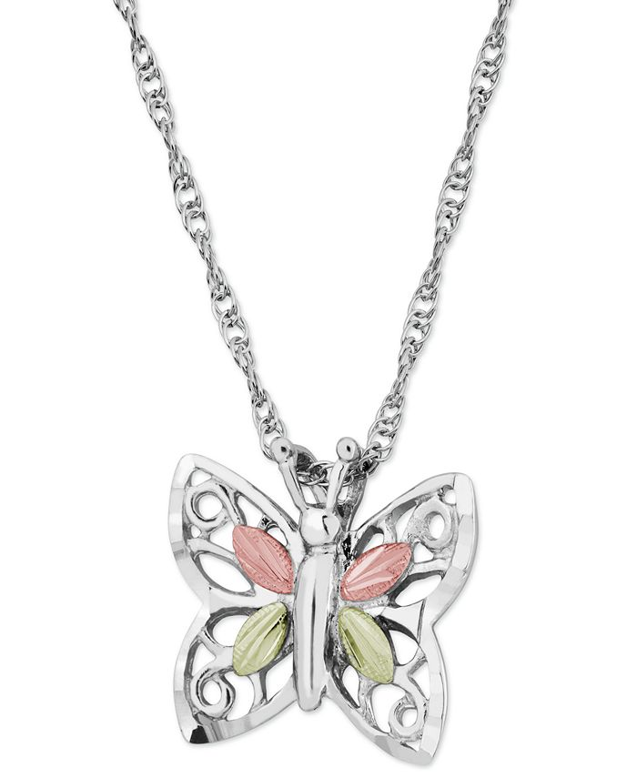Black Hills Gold - Butterfly Pendant in Sterling Silver with 12k Rose and Green Gold