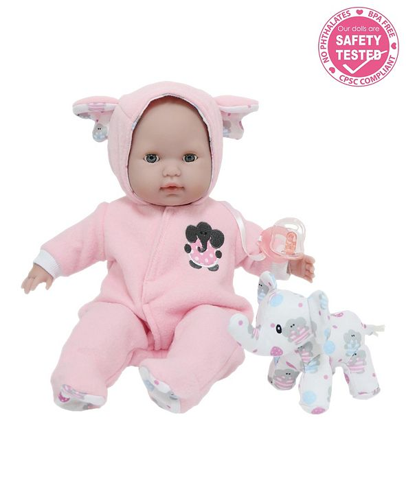 "JC TOYS Berenguer Boutique 15"" Soft Body Baby Doll Open, close Eyes With Play Elephant Accessory for Children 2 Years and Older, Designed by Berenguer"