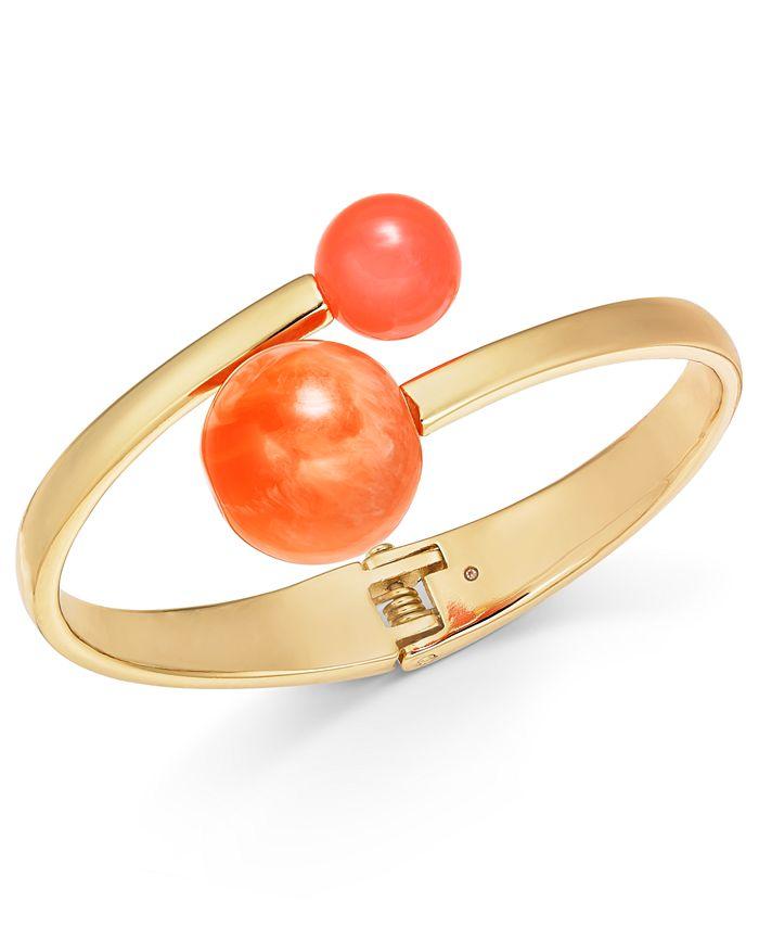 Alfani - Gold-Tone Bead-Tipped Bypass Bangle Bracelet