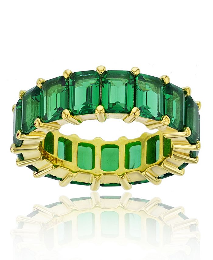 Macy's - Green Cubic Zirconia Eternity Band in 14k Yellow Gold Plated Plated Sterling Silver