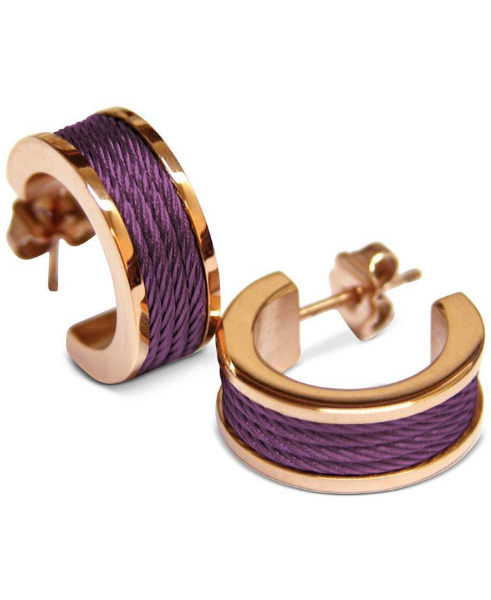 "CHARRIOL - Small Enamel Cable Huggie Hoop Earrings in Rose Gold-Tone PVD Stainless Steel, 0.75"""