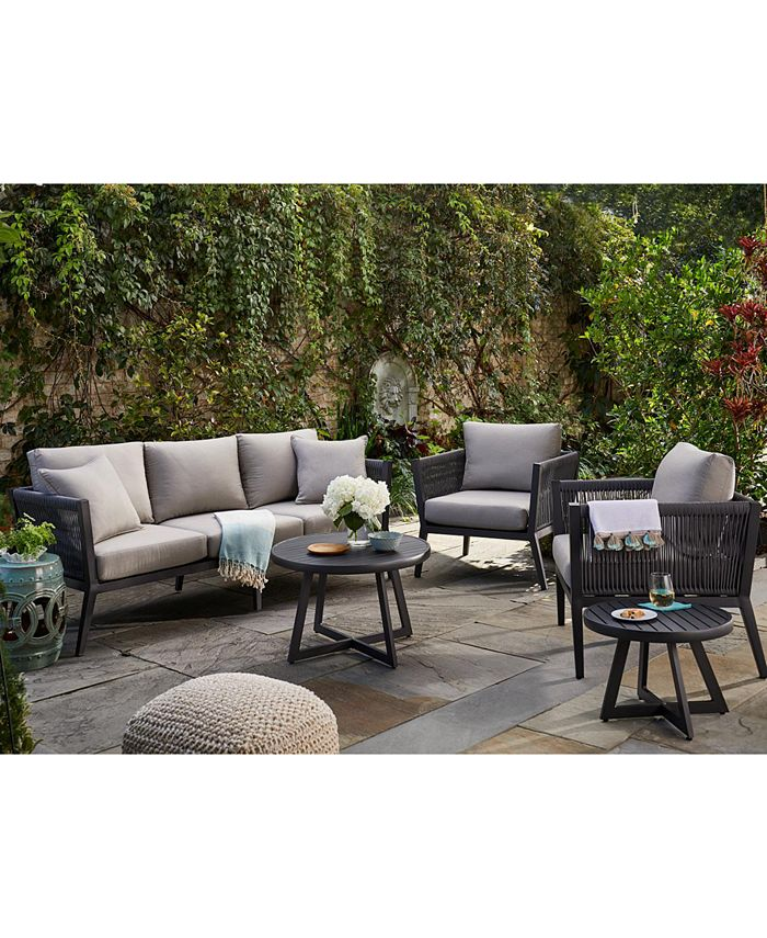 Furniture - Braxtyn Outdoor 5-Pc. Seating Set (Sofa, 2 Club Chairs, Round End Table & Round Nesting Coffee Table) with Sunbrella® Cushions, Created for Macy's