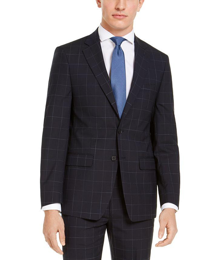 Calvin Klein - Men's X-Fit Extra-Slim Fit Infinite Stretch Navy Blue Windowpane Suit Jacket
