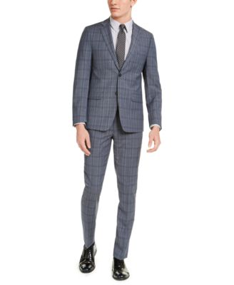 Men's Skinny-Fit Gray/Blue Plaid Suit Pants