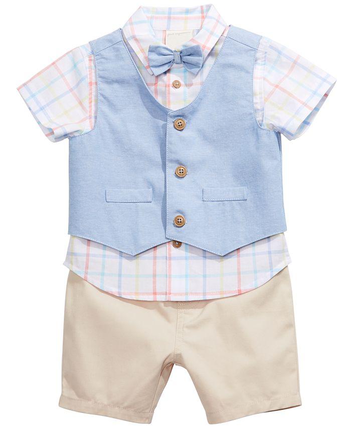 First Impressions - Baby Boys Cotton 3-Pc. Vest, Plaid Shirt & Shorts Set