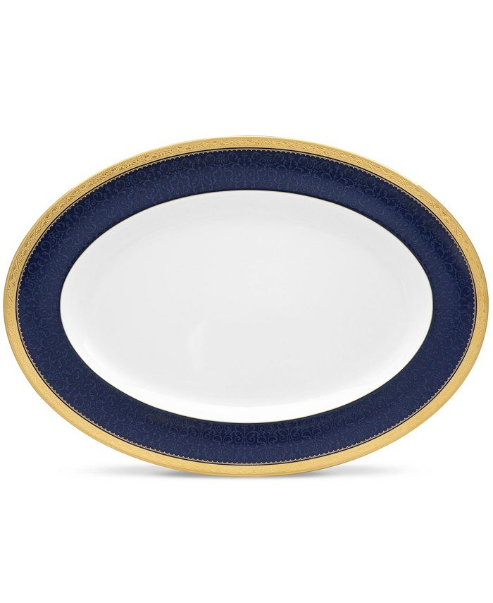 "Noritake - Odessa Cobalt Gold Oval Platter, 16"""