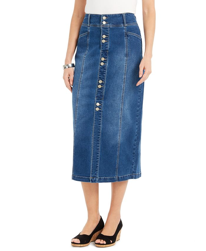 Style Co Button Front Midi Denim Skirt Created For Macy S Reviews Skirts Women Macy S