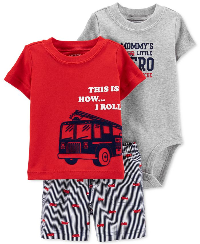 Carter's - Baby Boys 3-Pc. Cotton Firetruck T-Shirt, Bodysuit & Shorts Set