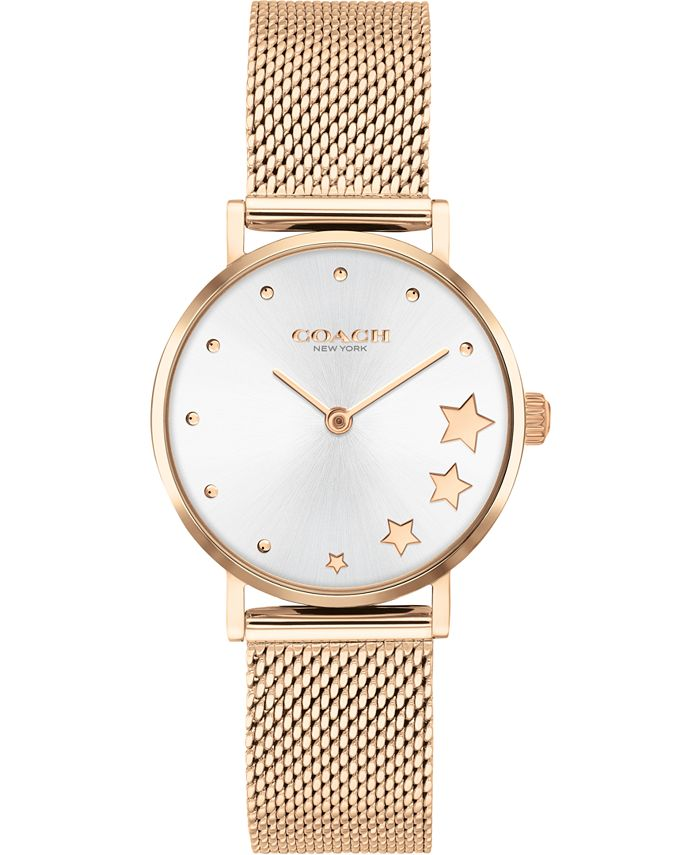 COACH - Women's Perry Rose Gold-Tone Stainless Steel Mesh Bracelet Watch 28mm