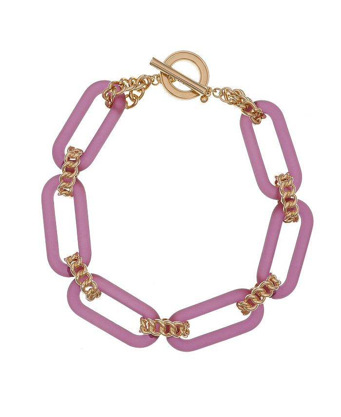 Christian Siriano New York - Chiristian Siriano Gold Tone and Pink Lucite Link Collar Necklace