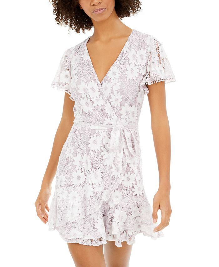 City Studios - Juniors' Lace Faux-Wrap Dress