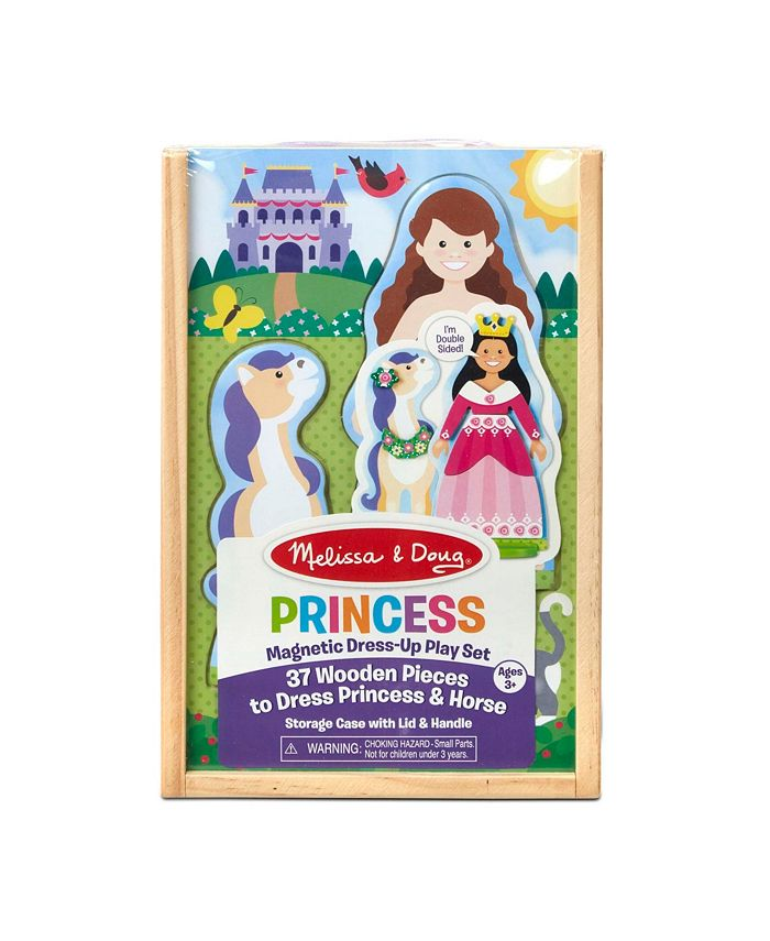 Melissa and Doug - Princess Horse Magnetic Dress-Up Wooden Dolls Pretend Play Set 35 pcs