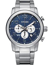 Citizen Men's Quartz Chronograph Stainless Steel Bracelet Watch 42mm