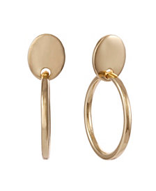 Christian Siriano New York Gold Tone Clip Hoop Drop Earring