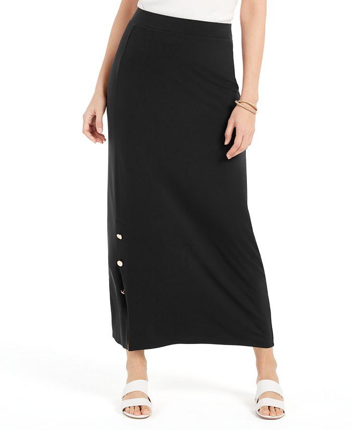 JM Collection - Petite Buttoned-Slit Skirt