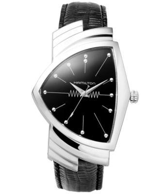 Watch, Men's Swiss Ventura Black Leather Strap 27mm H24411732