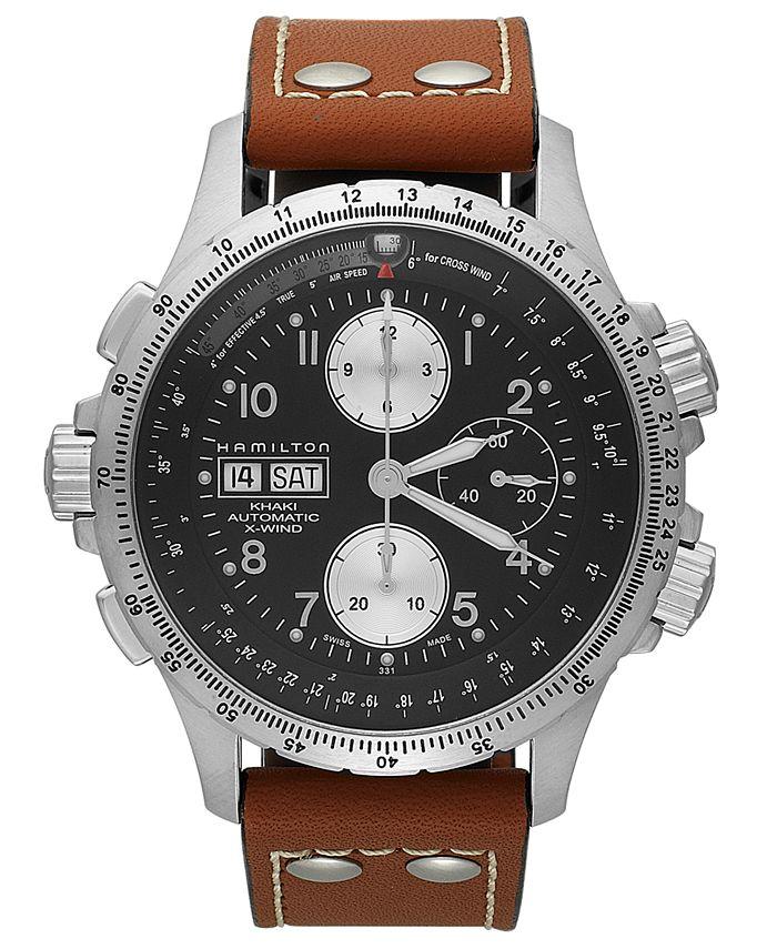 Hamilton - Watch, Men's Swiss Automatic Chronograph Khaki X-Wind Brown Leather Strap 44mm H77616533