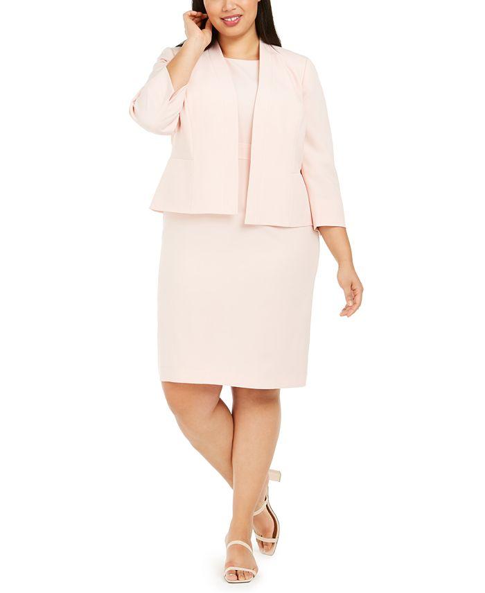 Le Suit - Plus Size Dress & Kiss-Front Jacket