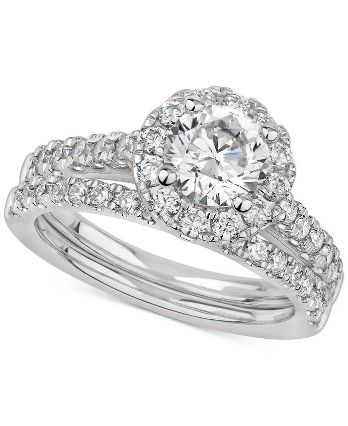 Macy's - Certified Diamond Halo Bridal Set (2 ct. t.w.) in 14k White gold