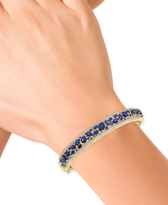EFFY Collection EFFY® Sapphire (7-1/6 ct. t.w.) & Diamond (1-1/6 ct. t.w.) Bangle Bracelet in 14k Gold & Reviews - Bracelets - Jewelry & Watches - Macy's
