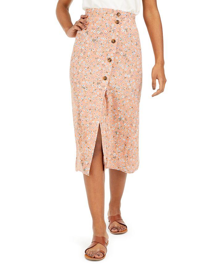 Ultra Flirt - Juniors' Floral-Print Midi Skirt