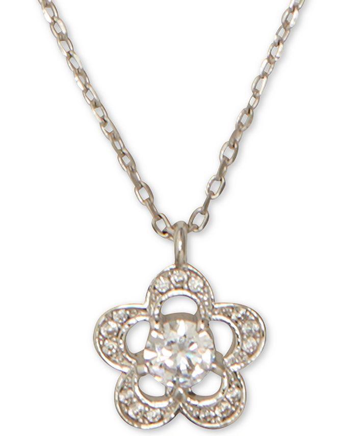 "kate spade new york - Crystal Flower Pendant Necklace, 17"" + 3"" extender"