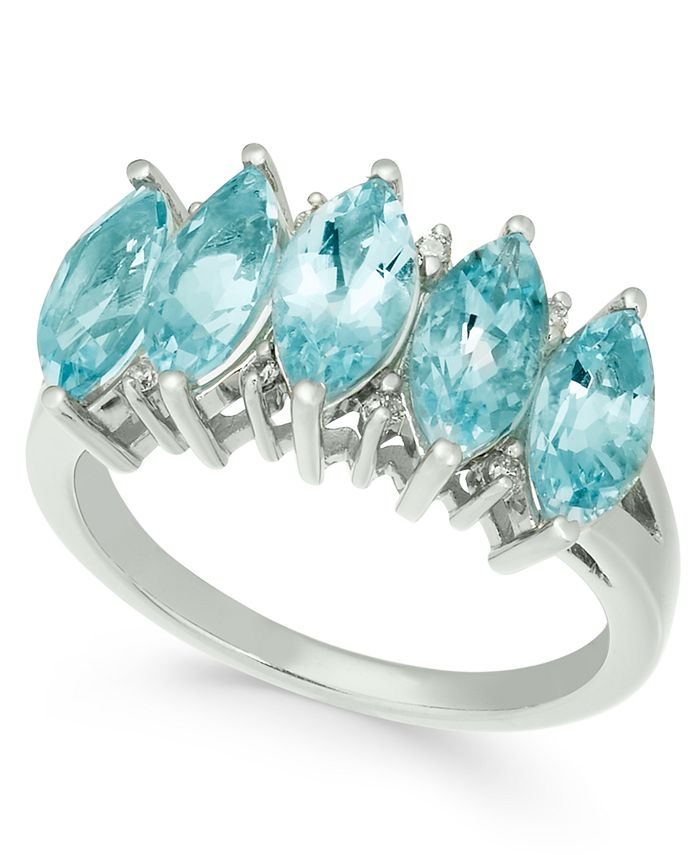 Macy's - Gemstone & Diamond Accent Ring in 14k Gold (Available in Blue Topaz, Aquamarine and Peridot)