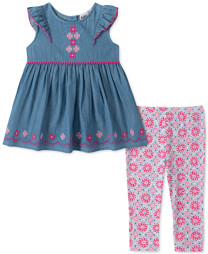 Kids Headquarters - Little Girls 2-Pc. Chambray Flower Tunic & Printed Leggings Set