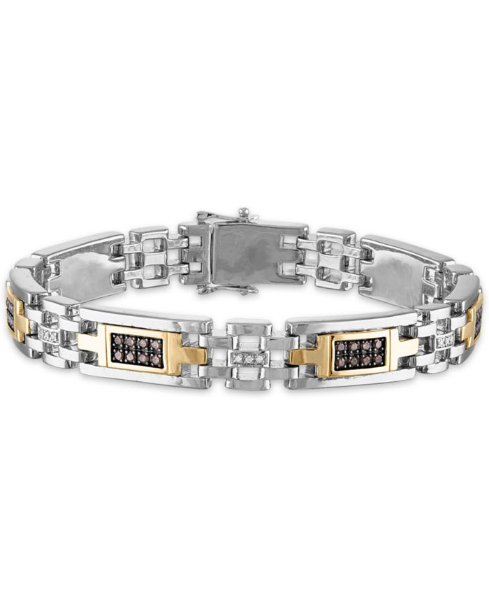 """Macy's Men's 1 Carat Brown and White Diamond 8 3/4"""" Bracelet in Sterling Silver and 10k Yellow Gold & Reviews - Bracelets - Jewelry & Watches - Macy's"""