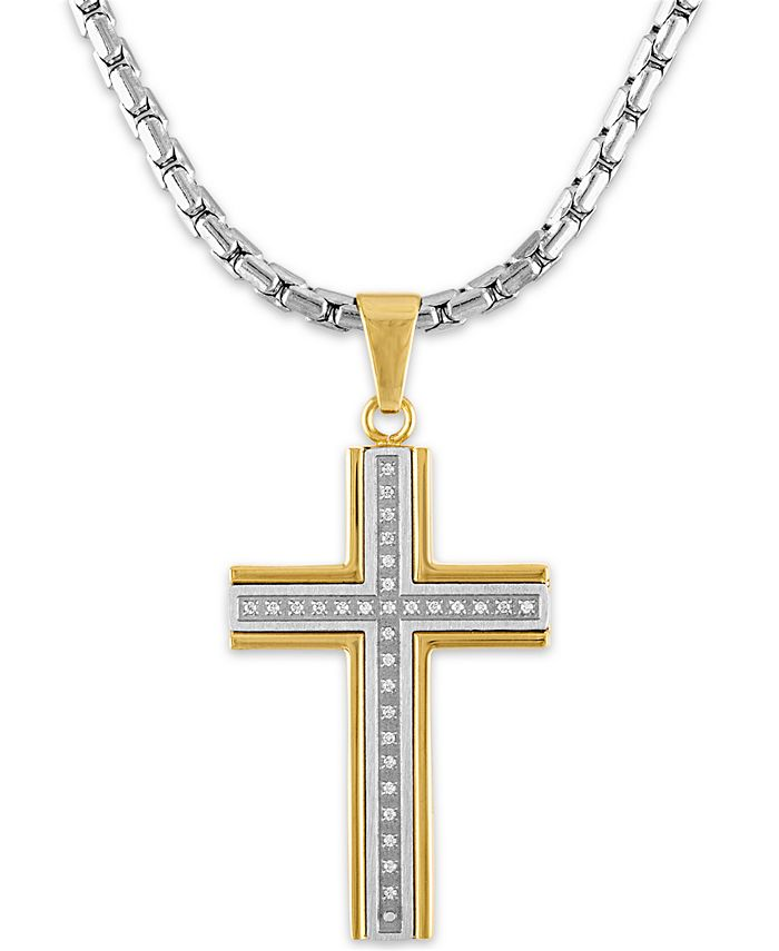 """Macy's - Men's 1/6 Carat Diamond Cross Pendant 22"""" Chain in Stainless Steel and Gold Tone Ion Plating"""