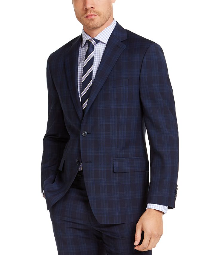 Michael Kors - Men's Classic-Fit Airsoft Stretch Navy Blue Plaid Suit Jacket