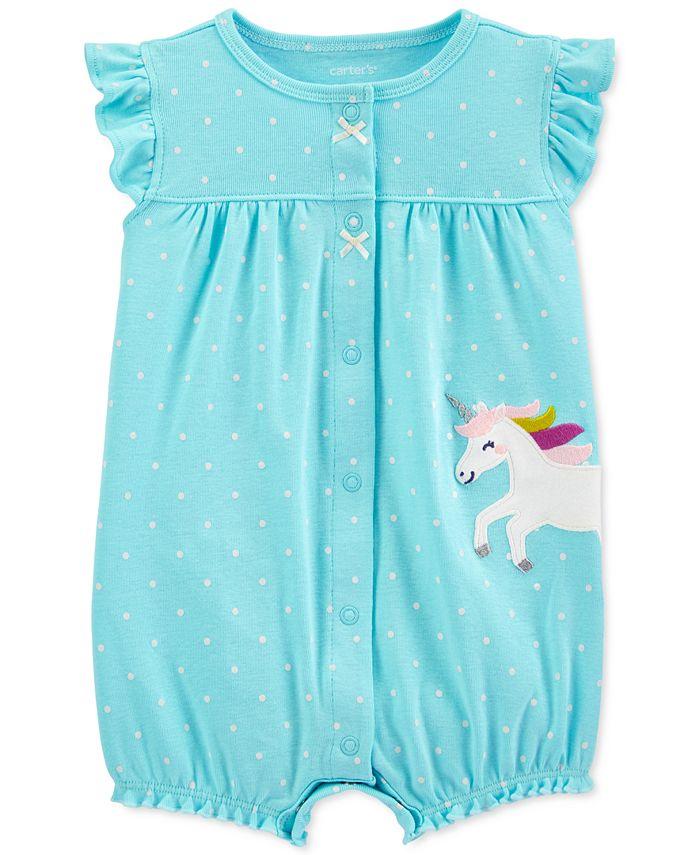 Carter's - Baby Girls Dot-Print Unicorn Cotton Romper