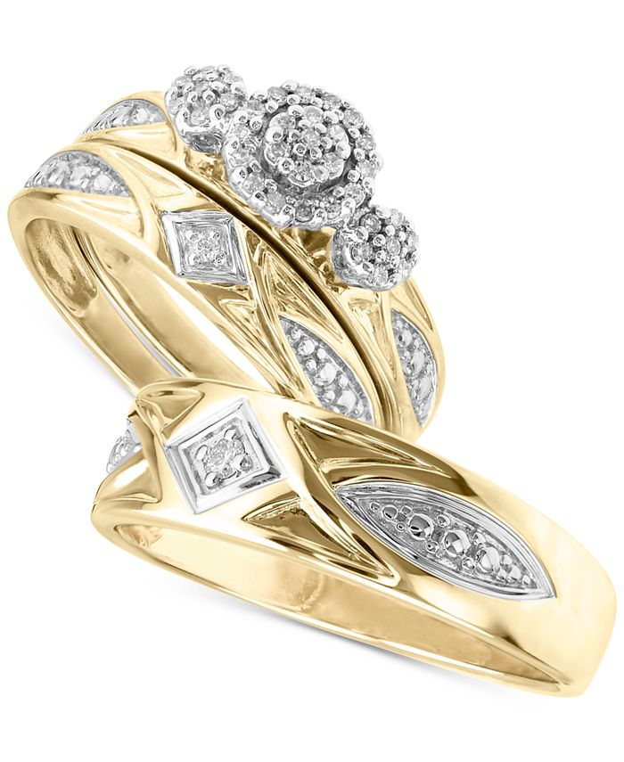 Macy's - Diamond 3-Pc. Bridal Set Engagement Ring and His & Her Matching Wedding Bands (1/5 ct. t.w.) in 14k Gold