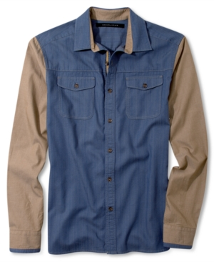 Sean John Big  Tall Shirt Long Sleeve Denim and Colorblock Shirt