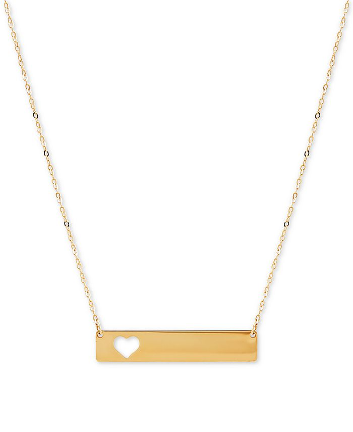 """Macy's - Heart Cut-Out Polished Bar 17"""" Pendant Necklace in 10k Gold"""