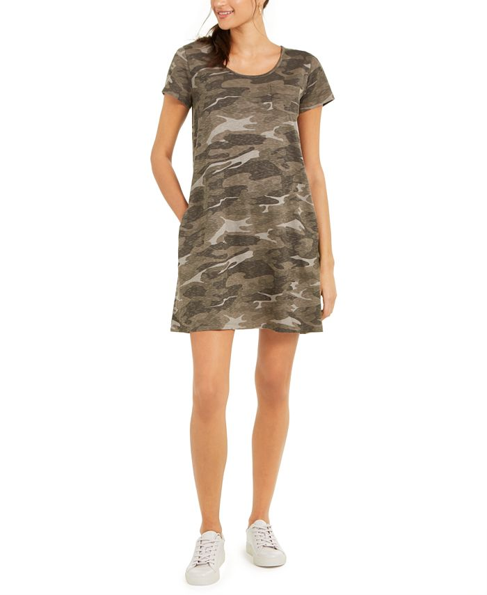 Petite Cotton Camouflage-Print T-Shirt Dress, Created for Macy's