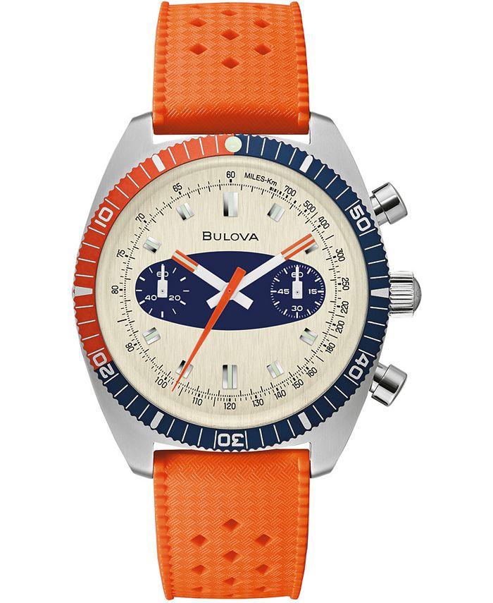 Bulova - Men's Chronograph Archive Surfboard Orange Silicone Strap Watch 40.5mm