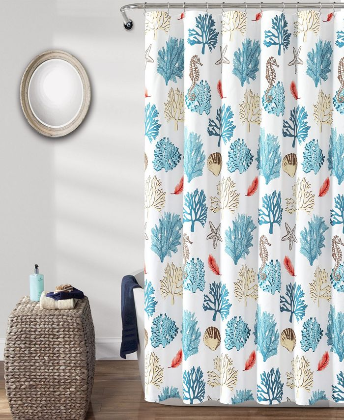 "Lush Décor - Coastal Reef Feather 72"" x 72"" Shower Curtain"