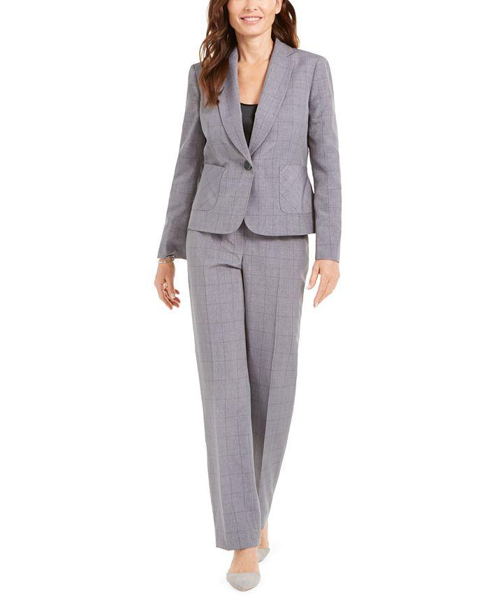 Le Suit - Windowpane Plaid Pants Suit