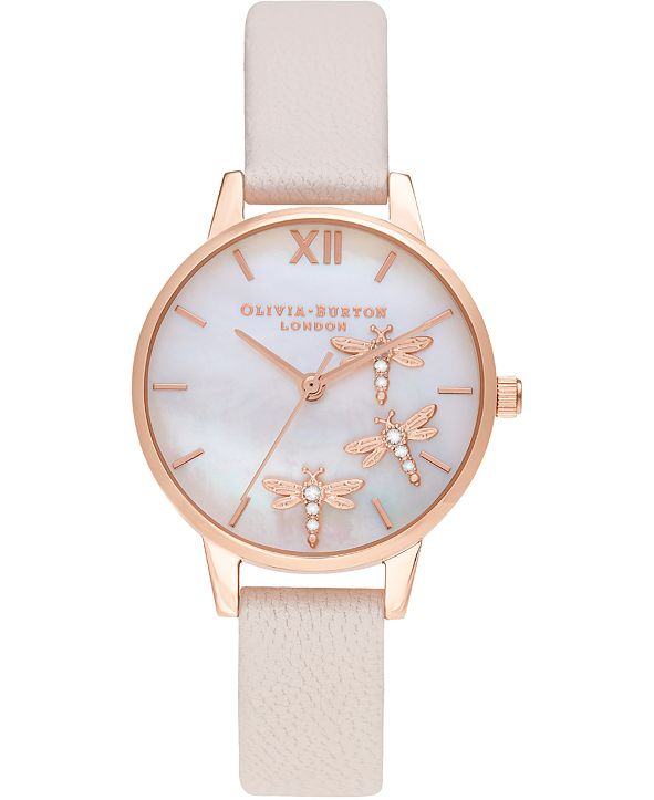 Olivia Burton Women's Dancing Dragonfly Pearl Pink Leather Strap Watch 30mm