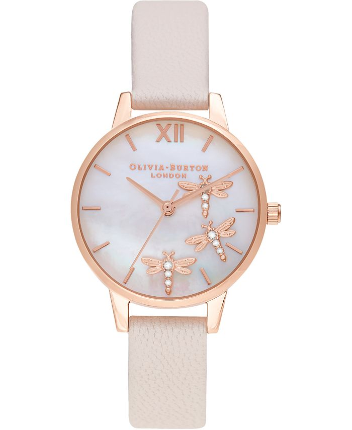 Olivia Burton - Women's Dancing Dragonfly Pearl Pink Leather Strap Watch 30mm