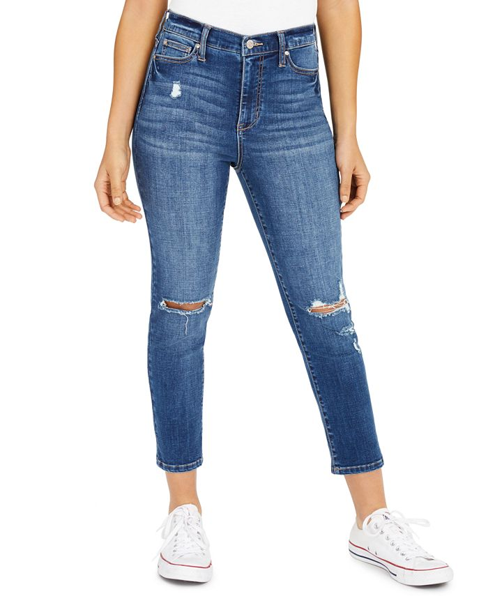 Celebrity Pink - Juniors' Ripped Cropped Straight-Leg Jeans