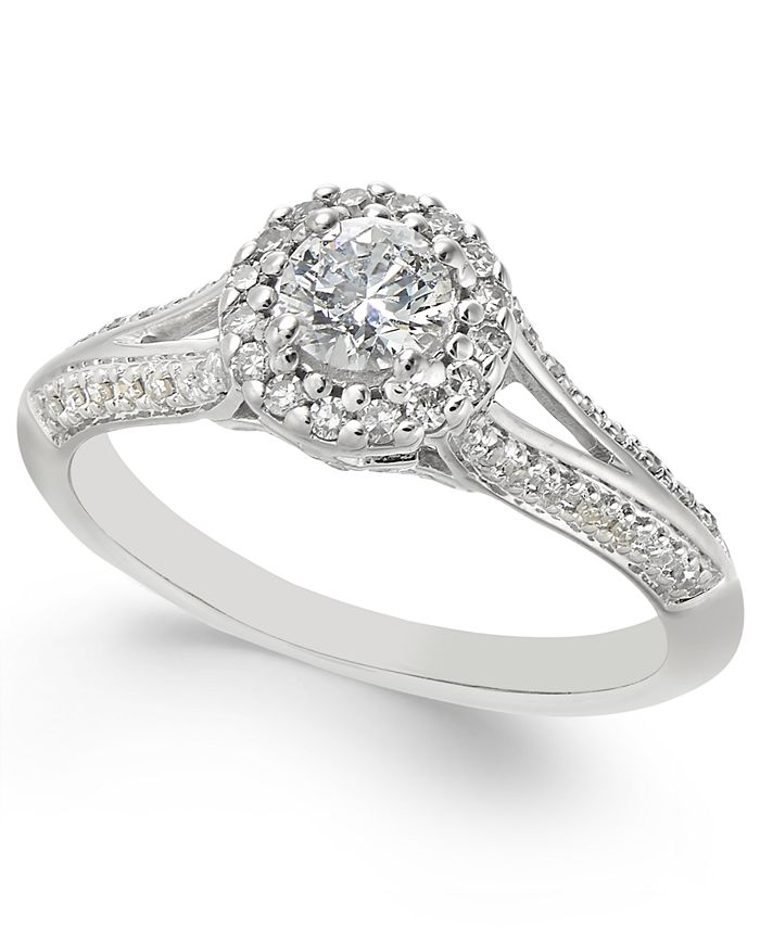 Macy's - Diamond Split-Setting Halo Engagement Ring (1/2 ct. t.w.) in 14k White Gold