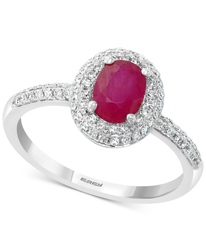EFFY Collection - Ruby (7/8 ct. t.w.) & Diamond (1/3 ct. t.w.) Statement Ring in 14k White Gold