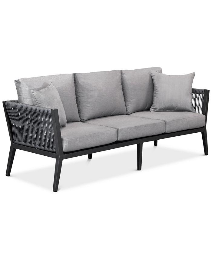 "Furniture - Braxtyn 80"" Outdoor Sofa with Sunbrella® Cushions"