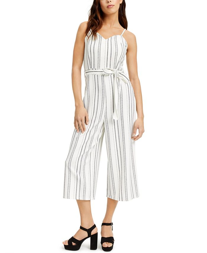 Almost Famous - Juniors' Belted Striped Jumpsuit