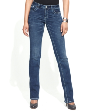 INC International Concepts Petite Jeans, Curvy-Fit Slim Bootcut, Light Wash