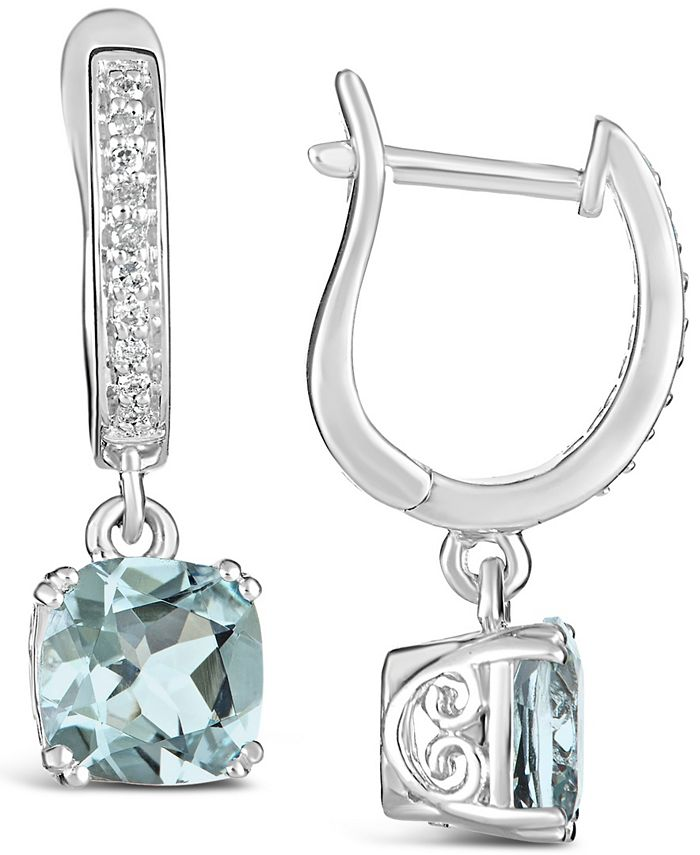 Macy's - Aquamarine (2-1/2 ct. t.w.) and Diamond (1/10 ct. t.w.) Drop Earrings in Sterling Silver