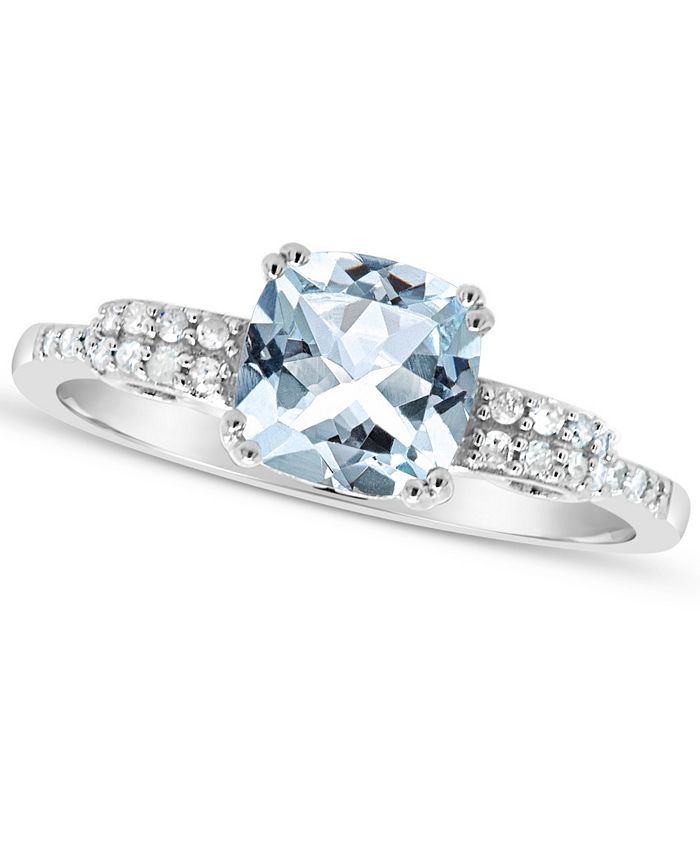 Macy's - Aquamarine (1-1/4 ct. t.w.) and Diamond (1/10 ct. t.w.) Ring in Sterling Silver