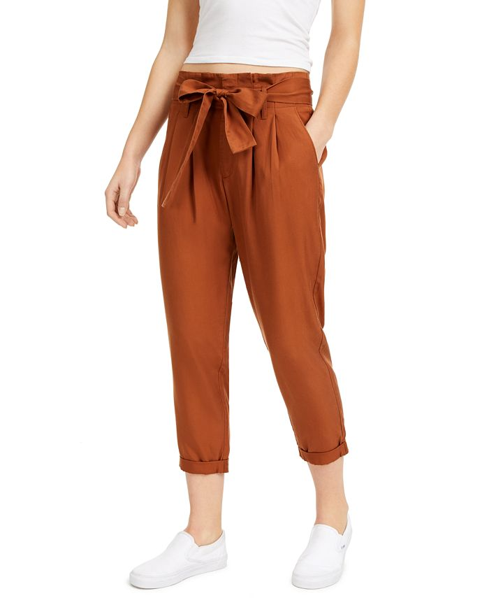 Indigo Rein - Juniors' High-Rise Paperbag Pants